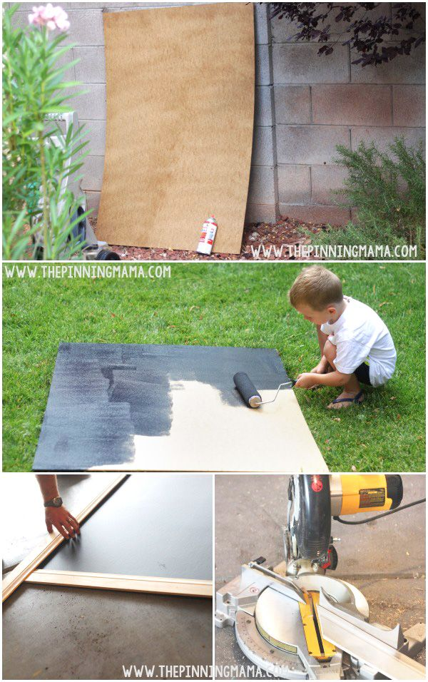 How to make an oversized outdoor chalkboard - It is easy and looks beautiful hanging in the back yard!