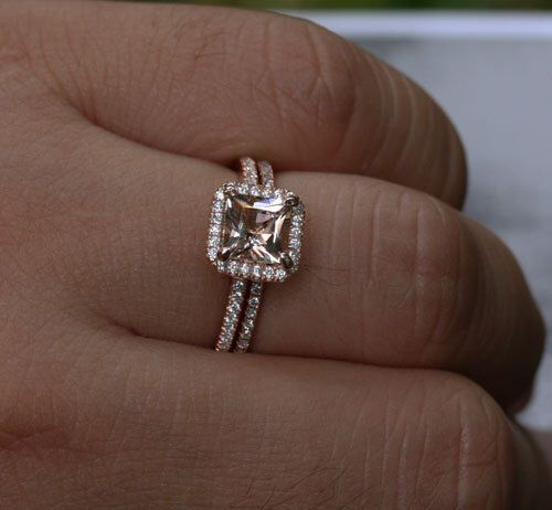 Rose Gold Morganite Engagement Ring Set Morganite Halo Ring in 14k Gold with Morganite Princess Cut 6mm and Diamond Bridal Ring Set by Twoperidotbirds on Etsy https://www.etsy.com/listing/156601044/rose-gold-morganite-engagement-ring-set