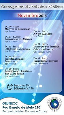 Calendário de palestras do GEUNECC – Novembro/2015 - Duque de Caxias - RJ - http://www.agendaespiritabrasil.com.br/2015/11/08/calendario-de-palestras-do-geunecc-novembro2015-duque-de-caxias-rj/