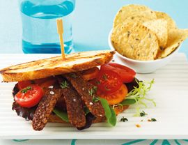 Tempeh Bacon--This simple recipe can be assembled the night before and prepared in the morning for a weekend breakfast or brunch. Or use it for a delicious tempeh BLT with baby greens and perfect cherry tomatoes. The tempeh strips can be left marinating in the fridge 2 to 3 days. Just be sure to eat the bacon as soon as it's cooked—otherwise, it may lose its crispness