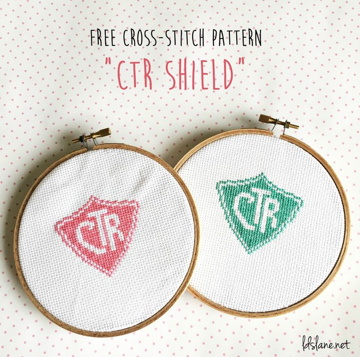 "Free ""CTR SHIELD"" cross stitch pattern by LDS Lane"