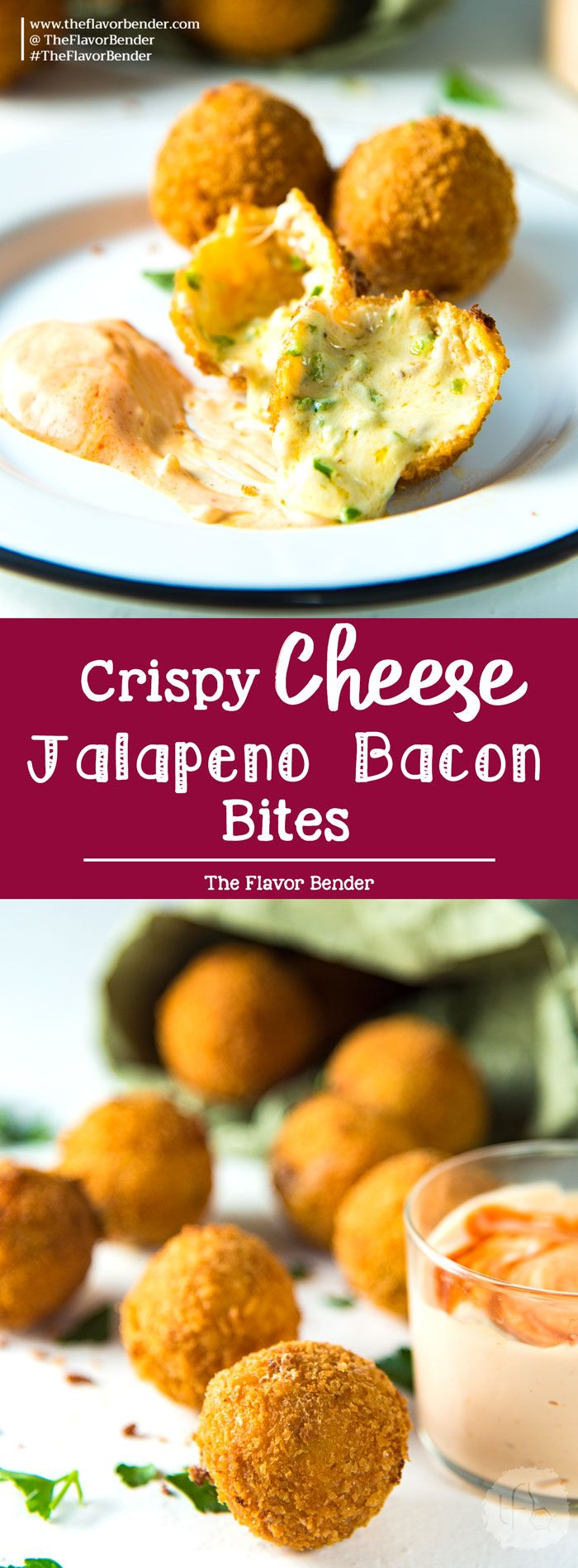 Crispy Cheese Jalapeno Bacon Bites - These creamy, crunchy, flavorful fried cheese balls are perfect for game day snacking or as any party appetizer! Like Bacon Jalapeno Poppers, but even better! #Gameday #marchmadness #appetizers via @theflavorbender