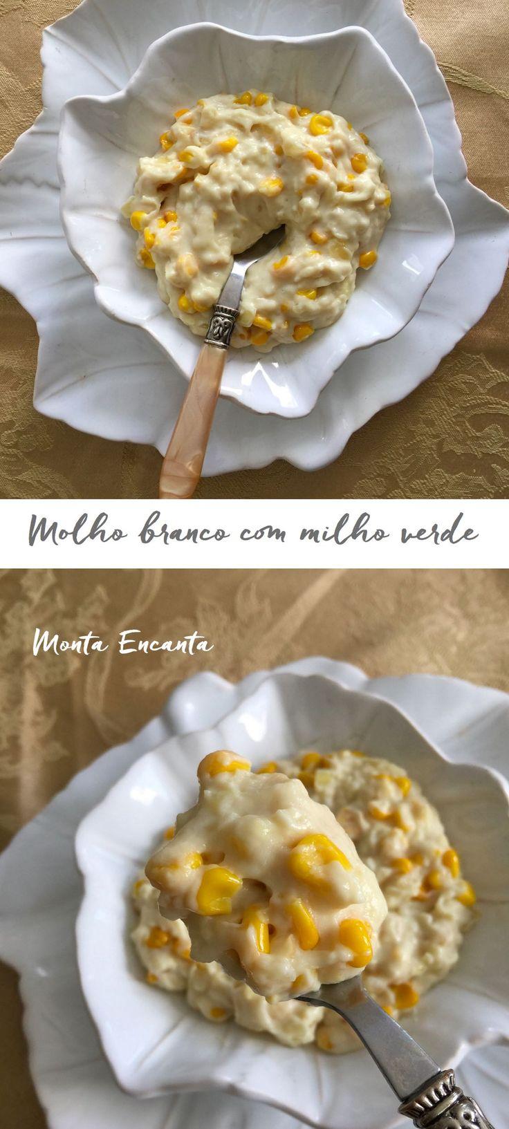 Molho Branco com Milho Verde. Nada mais, nada menos que um delicioso e bem feito Molho Bèchamel branco de cebola com manteiga, misturado a grãos de milho verde ainda inteiros …