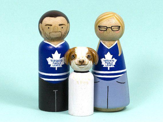 GluePaperScissorShop Unique Gift - Sports Gift - Pet Portrait - Peg Doll - Animal Lover - Hockey Gift - Toronto Maple Leafs - Peg Doll Family - Anniversary Gift