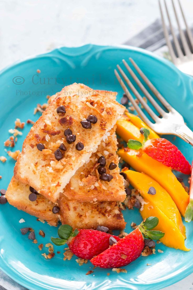 Coconut french toast with chocolate chips coconut french