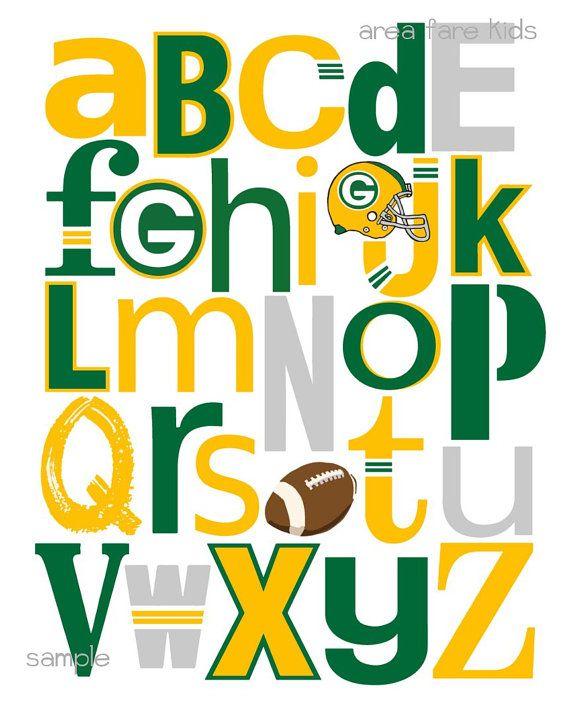 GREEN Bay PACKERS football ABC Nursery Art Print by AreaFareKids