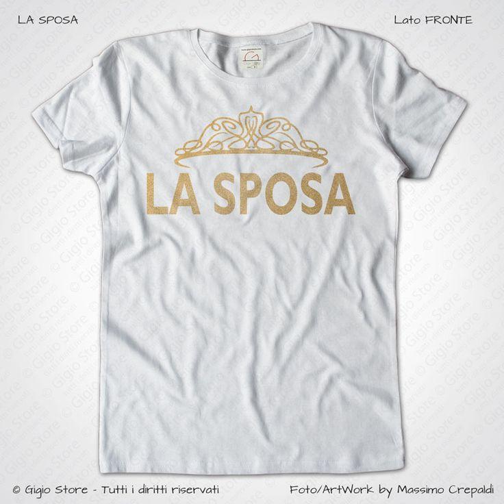 Magliette Sposa Addio al Nubilato T-Shirt Matrimonio colore Bianco Stampa Personalizzata Dorata Taglia XS-S-M-L-XL-XXL