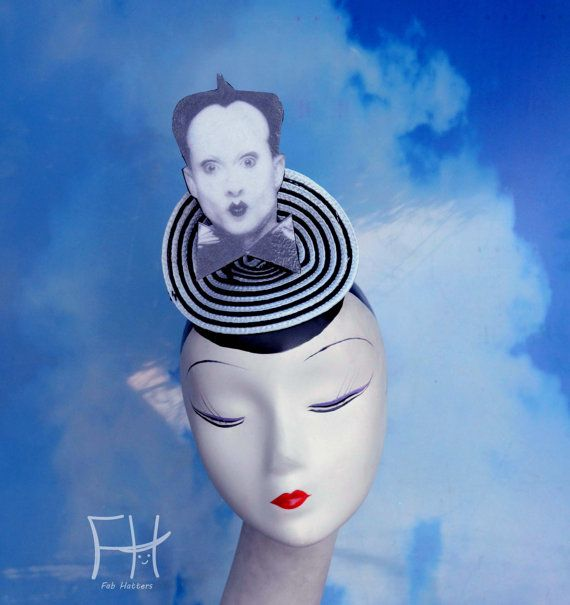 Klaus Nomi Black and White Fascinator by FabHatters on Etsy
