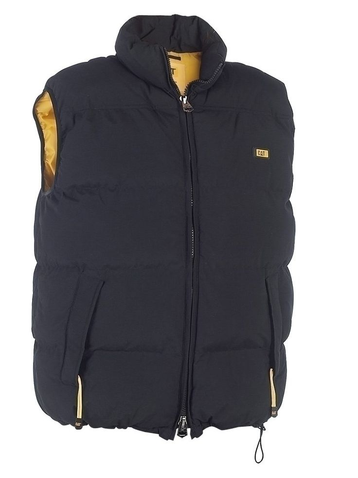 The Caterpillar Classic Bodywarmer is a thick, durable garment sporting the classic CAT logo on the left chest to give it a sense of style, and is lined in eye-catching yellow polyester.
