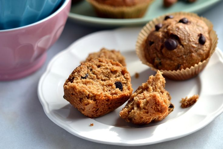 Hazelnut Butter-Chocolate Chip Muffins - Coconut and Berries (try subbing oat flour to make gf)