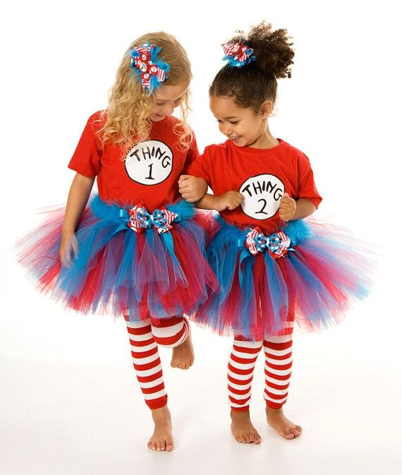 Custom Halloween Costumes www.cutethingsandmore.com to order!  Kids Halloween, cat in the hat cotume, thing 1 and thing 2, tutu costume, girly costume ideas