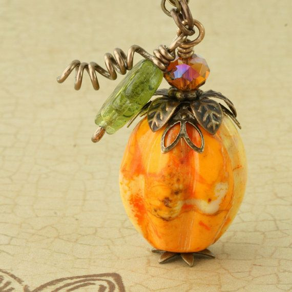 Orange Pumpkin Necklace Halloween Necklace by ForTheCrossJewelry, $35.00
