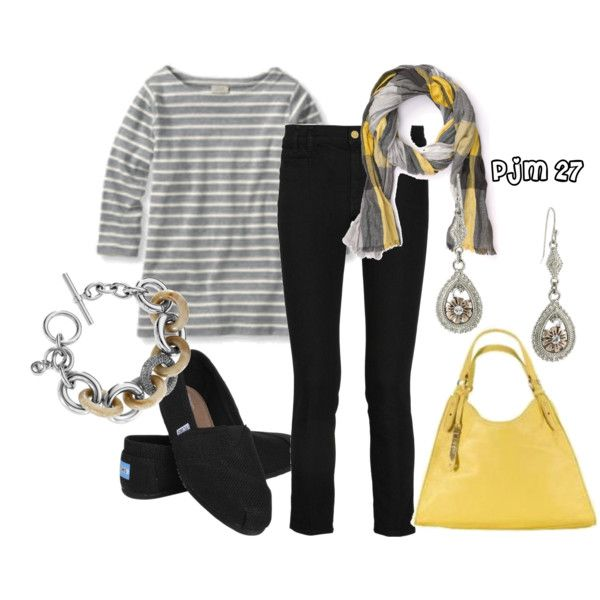 GRAY YELLOW TOMS OUTFIT Toms Kinda Day, created by pjm27 on Polyvore
