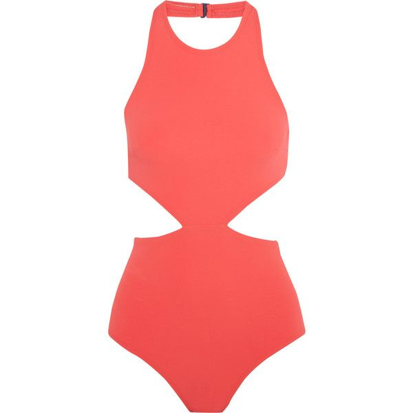 Flagpole Lynn cutout swimsuit ($335) ❤ liked on Polyvore featuring swimwear, one-piece swimsuits, cut out one piece swimsuit, cut-out swimwear, bathing suit swimwear, cut out swimsuit and swim suits