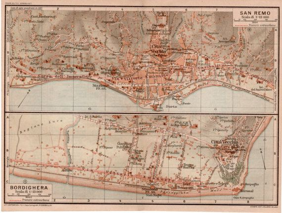 1916 San Remo Italy Antique Map Vintage Lithograph by Craftissimo