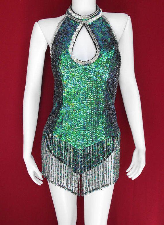 Party Latin Dance Drag Queen Sequin Costume S - L