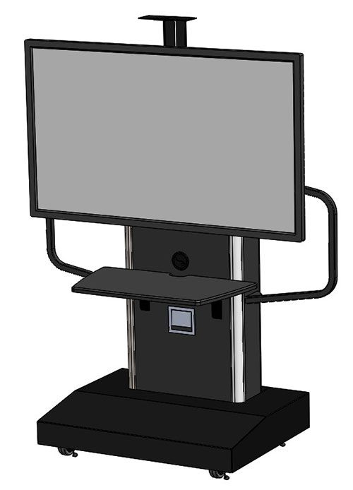 TP1200-S stand for single monitors provides a platform ready for mobile room conferencing and interactive systems. It features handles, front shelf, cable storage grommets, TV mount, camera brackets. 3U internal rack and mobile caster base.