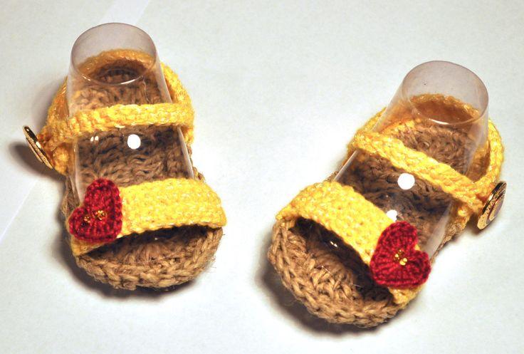 Sandali in cotone bambina tg. 3-6 mesi di NewlifediMara su Etsy