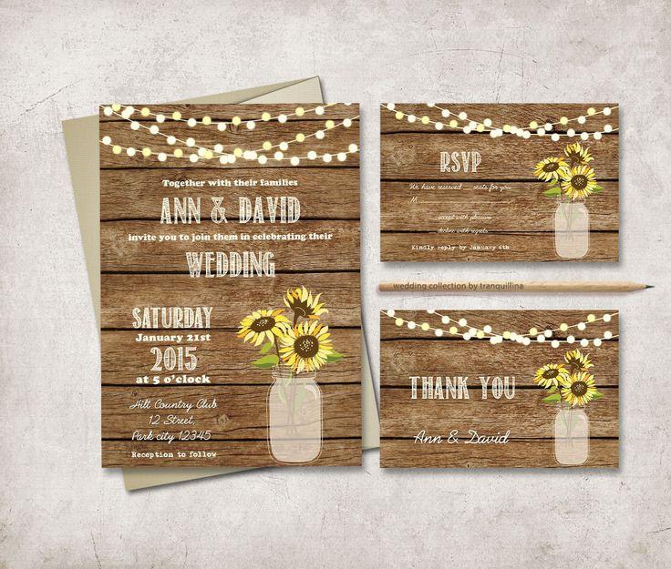 Rustic Wedding Invitation Printable, Digital File   Mason Jar Wedding  Invitation Suite, Sunflower Wedding