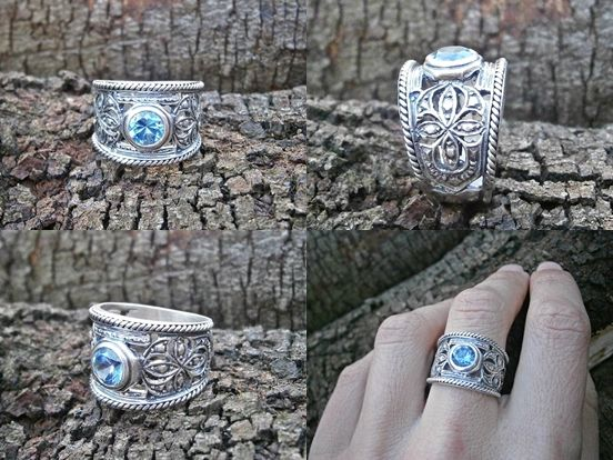 Oxidized sterling silver filigree ring with azure blue gemstone - Susan Roos