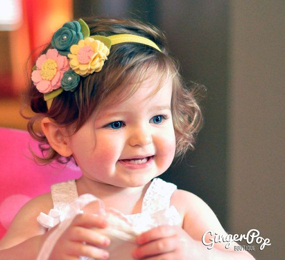 Spring Felt Flower Headband - Flower Girl, Spring Headband - Flower headband for newborns, toddlers, or adults - Wedding photo prop