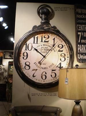 large oversized pocket watchstyle vintage industrial wall clock