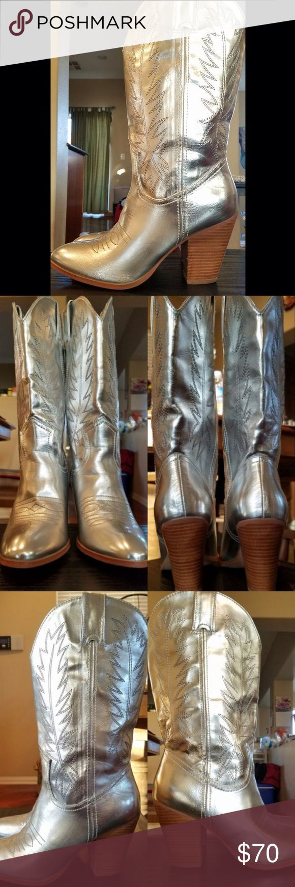 "✨ Make offer ✨ | Silver Metallic Cowboy Boots  Authentic Miranda by Miranda Lambert metallic silver cowboy boots. Slightly used. Size 8M. Faux leather. 10 1/2"" shaft height. 14"" leg opening. Almond toe. Paisley print fabric lining. 3 1/4"" stacked block heel. Rarely used. Like new condition. Look at all photos carefully, I do not accept returns. If you have questions, please let me know! Will look at all offers and accept the best one at the end of the week. No shoe box included. Same / next…"