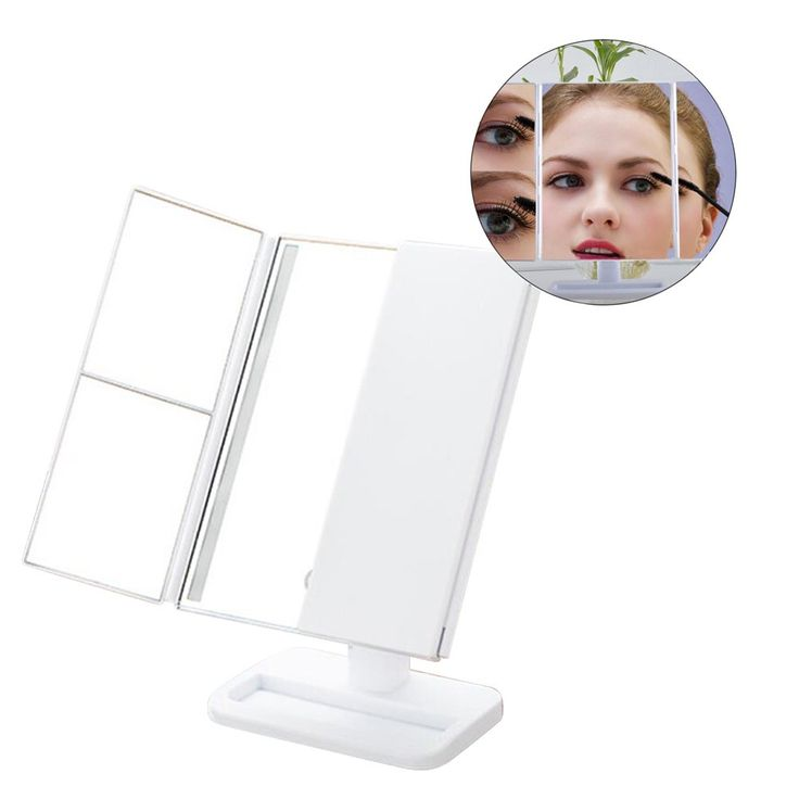 Tri-fold LED Cosmetic Mirror, ANGTUO USB Professional 1×/2×/3× Magnification Beauty Make Up Tabletop Mirror with Light for Meet Different Angles. [ Size ] 14.9* 9.85 * 4.6 inch. [ Multi-angle ]This is a tri-fold LED cosmetic mirror with it freely folding, you can up-down,before-rear the multi-angle, all-round observation. [ 24 LED ]Built-in 24 LED lights, if you in the dim light, you can adjust the brightness of the light, make easy for you make up when you stay a dark place. [ Zoom…