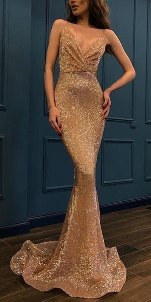Sparkly Sequin Verschiedene Farben Mermaid Backless V-Ausschnitt Sexy Prom Dresses, FC224 ...