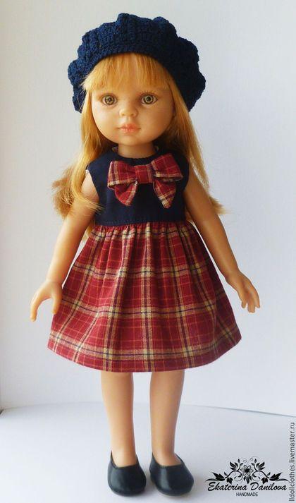 Купить или заказать Резерв Комплект для куклы Paola Reina в интернет-магазине на Ярмарке Мастеров. Комплект для куклы Paola Reina 32-34 см. Состоит из платья с завышенной талией и берета. Платье выполнено из импортного хлопка, украшено бантиком. Лиф платья на подкладке. Все швы на платье спрятаны или обработаны. Платье сзади застегивается на маленькие кнопки. Платье не распашное, но легко одевается. Берет связан крючком из импортного мерсеризованного хлопка.