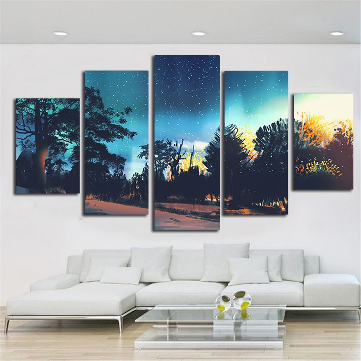 Night view Pattern Canvas Printing Calligraphy Wall Pictures For Living Room 5 Piece Decor Art Fabric Cloth Bauhaus Style