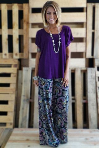 Love everything about this!!! Palazzo Pants & purple