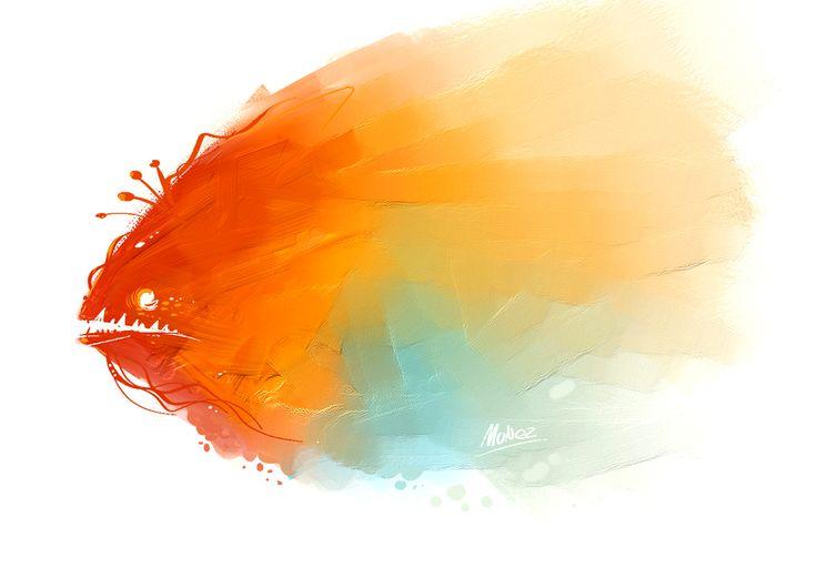 'colorous fish' digital art using Corel painter  #fish #colorfull #color #illustration #corelpainter #digitalart #monez #monstero