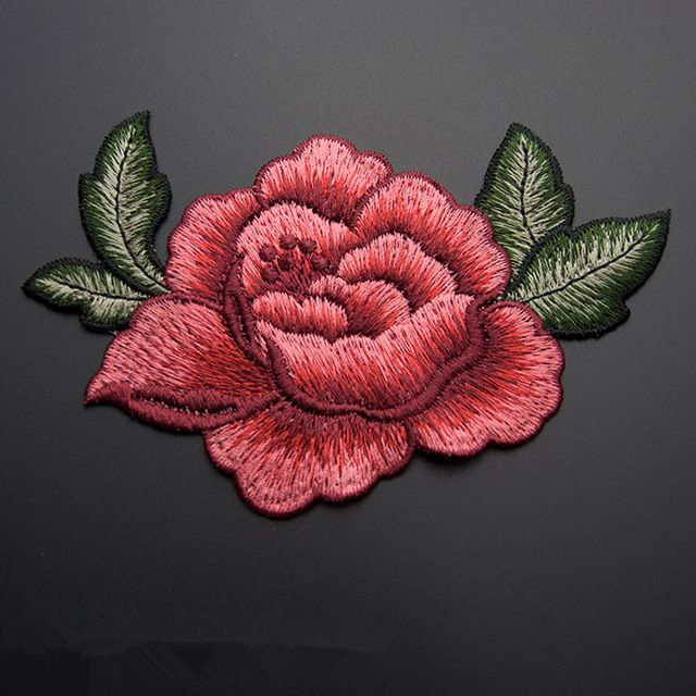 13*9 cm 3D rose peony flor parche Bordado de prendas de vestir Apliques de coser Parches Ropa cheongsam vestido de novia Accesorios
