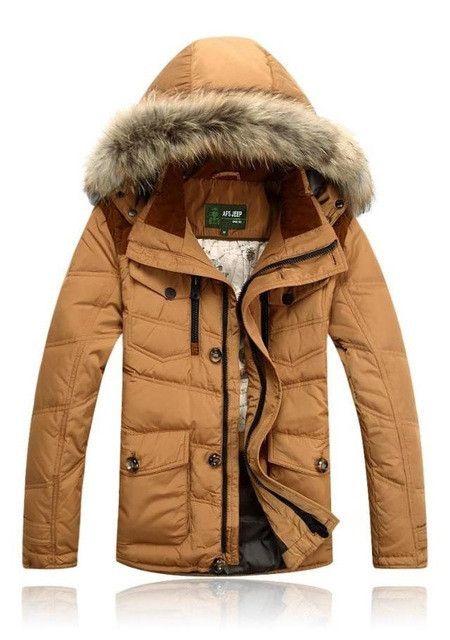 JEEP Men's Down Jacket Winter Coat Man solid Fit Down Coat with fur hood Men Winter Parkas Size M-3XL 3 colors 196z