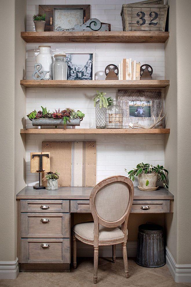 Farmhouse Kitchen Desk Area. Farmhouse kitchen desk area with greywashed cabinets, greywashed reclaimed shelves and subway tile backsplash. #FarmhouseKitchen #DeskArea #workstation Tracy Lynn Studio