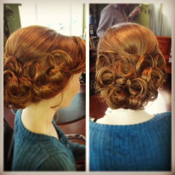 Vintage pincurl updo #stylebykendyl Same hair style as the blue fairy on Once...