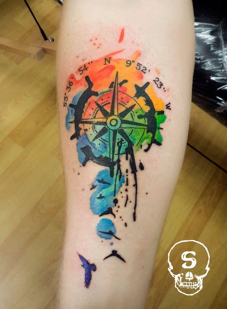 Pin By Mary Joy Llamera On Tattoo Idea Tattoos Watercolor Compass Tattoo Watercolour Tattoo Men