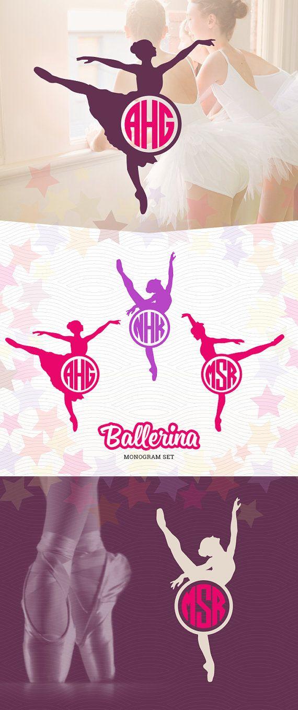 Ballerina Monogram Silhouette Frames SVG EPS DXF by LetitCut
