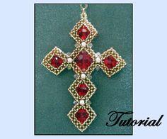 CRAW Beaded Cross Pendant Pattern | Bead-Patterns.com