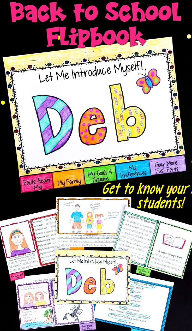 This is a fun back to school activity where we teachers can get to know our incoming students! The pages of this flipbook include: Facts About Me, My Family, My Goals and Dreams, My Preferences, and Four More Fast Facts! Ideal for upper elementary and middle school students!