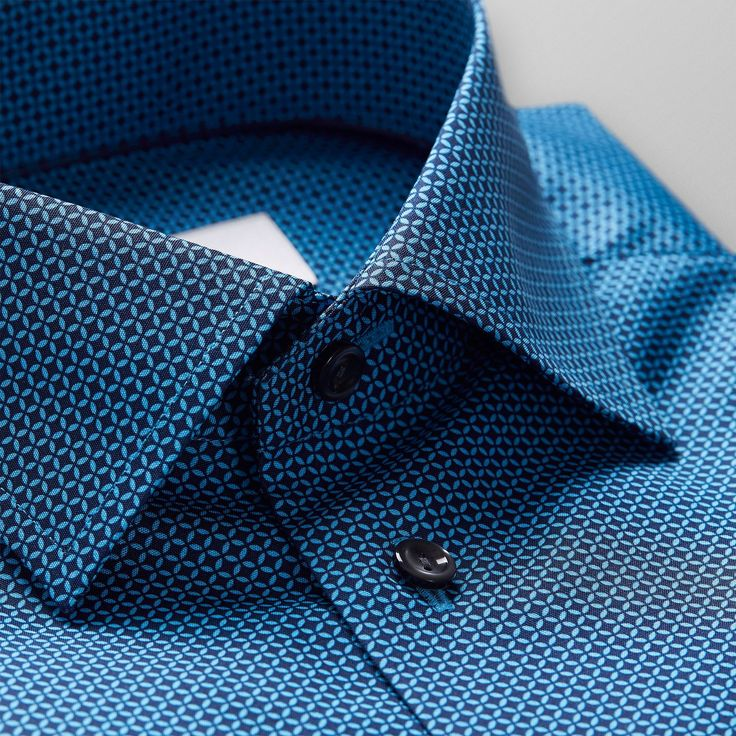 Blue Geometric Print Shirt - Slim fit   Eton Shirts US