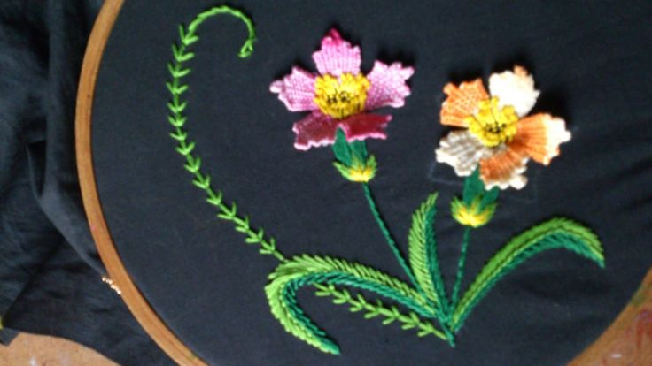 Hand embroidery designs.  Hand embroidery stitches tutorial.  woven pico...
