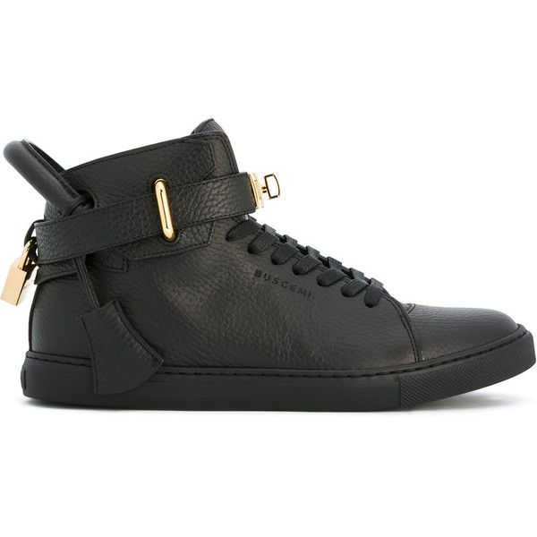 Buscemi high-top trainers ($969) ❤ liked on Polyvore featuring shoes, sneakers, black, black sneakers, black shoes, leather high tops, leather high top sneakers and buscemi sneakers