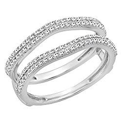 0.48 Carat (ctw) 14K Gold Round White Diamond Ladies Wedding Enhancer Double Ring 1/2 CT