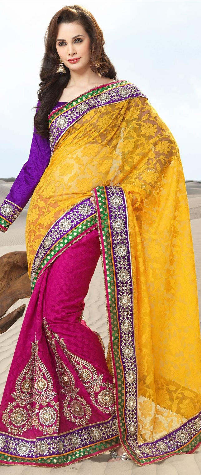 Mango #Yellow Jacquard Net and Banarasi Jacquard #Saree with Blouse @ $222.77