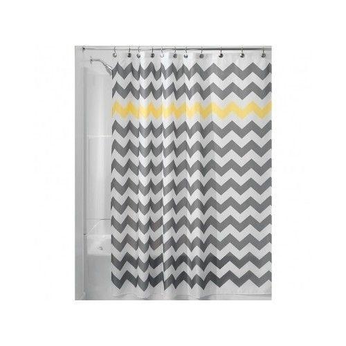New chevron zig zag shower curtain yellow and gray 72x72 fabric retro
