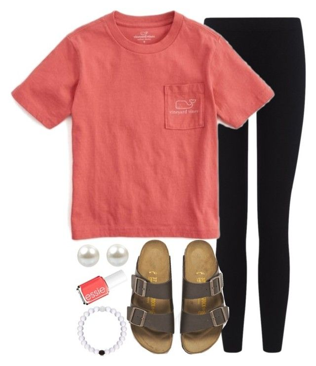 """TGIF!!!"" by mlvaughan ❤ liked on Polyvore featuring James Perse, Vineyard Vines, Birkenstock and Essie"