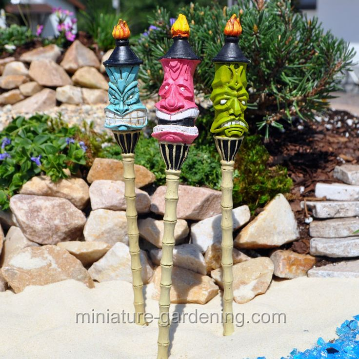 Miniature Gardening   Tiki Torch Stake, 3 Piece Set #fairy #garden