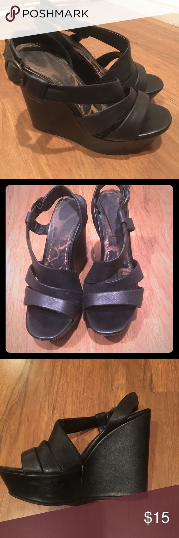 Black Jessica Simpson wedges Sz 7.5 Super cute black Jessica Simpson strappy wedges, size 7.5. Some wear but still in good condition & great for summer time! Jessica Simpson Shoes Wedges